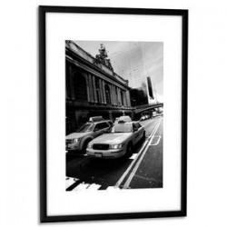 PAPERFLOW Cadre photo contour aluminium coloris noir, plaque en plexiglas. Format 21 x 30 cm