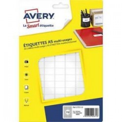 Etiquettes adhésives - Avery - multi-usages - Blanches - 12x18,3 - Planche A5 Nbre 1792 -