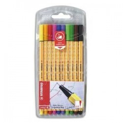 Pochette de 10 stylos feutre - STABILO - Point 88 - Pointe fine 0,4 mm - 10 couleurs assorties