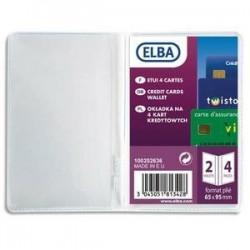 Etui pour carte bancaire, vitale - Elba - en pvc 30/100ème - 6,5x9,5cm - présentation en 2 volets (4 cartes)