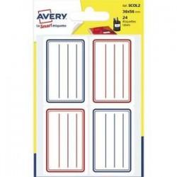 Sachet de 24 étiquettes scolaires lignées -  bleu et rouge - 36 x 56 mm - AVERY