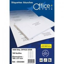 Boîte .2400 Etiquettes adhésives Blanches - 70X36mm -OS43475 - OFFICE STAR