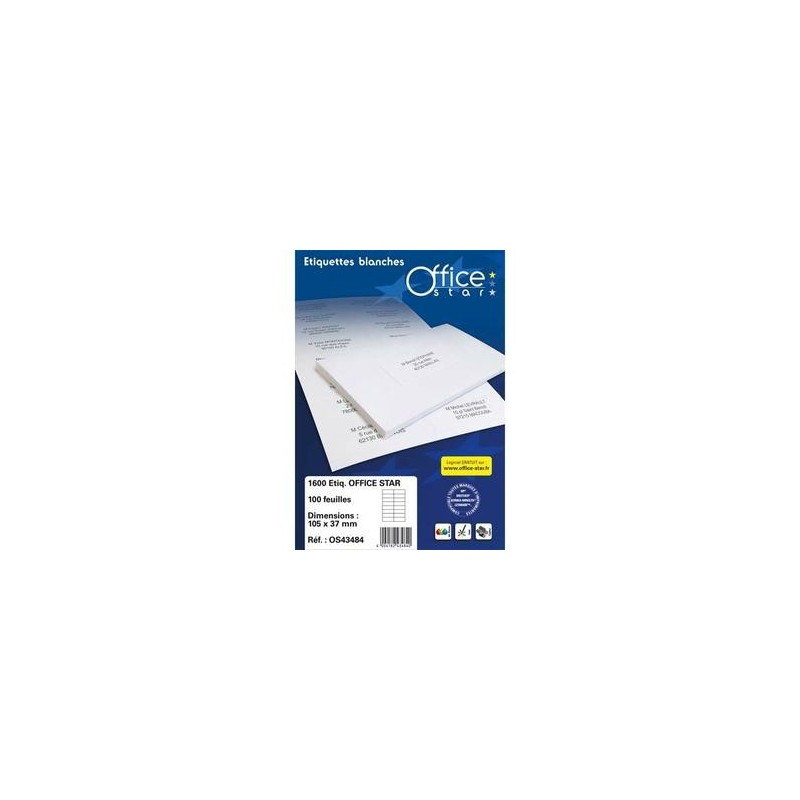 Boîte 400 Etiquettes adhésives Blanches - 105X148,5mm - OS43483 -OFFICE STAR