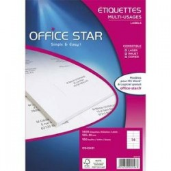 Boîte 600 Etiquettes adhésives Blanches - 99,1X93,1mm - OS43439 - OFFICE STAR