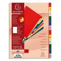 Intercalaires imprimés - Polypro. - 12/100è - de 1 à 12 - EXACOMPTA