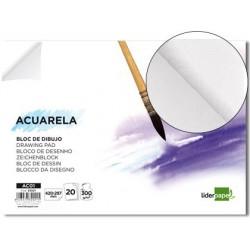 Bloc papier dessin aquarelle - Encollé 300g - A3 - Liderpapel