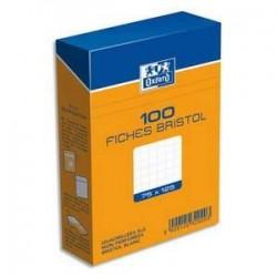 Bte/100 fiches Bristol - 7,5X12,5 - Blanc - 5x5 - OXFORD