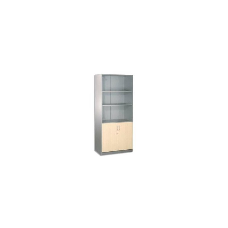 Bibliothèque /2 portes/Bas -.80x180x42cm - Alu/Erable - SIMMOB