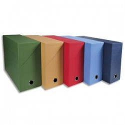 EXACOMPTA Boîte de transfert, carton rigide recouvert de papier toilé, dos 9 cm, 34x25,5 cm, assortis