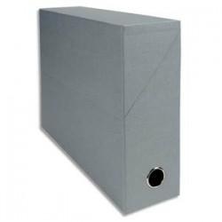 EXACOMPTA Boîte de transfert, carton rigide recouvert de papier toilé, dos 9 cm, 34x25,5 cm, gris