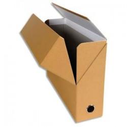 EXACOMPTA Boîte de transfert, carton rigide recouvert de papier toilé, dos 9 cm, 34x25,5 cm, havane