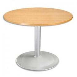 Table ronde D100 cm, épaisseur 2,5 cm - Pied Tulip D80 cm, hauteur cm hêtre aluminium
