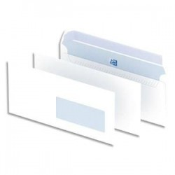 OXFORD Boîte de 500 enveloppes blanches auto-adhésives 90g format DL 110x220 mm avec fenêtre 35x100 mm