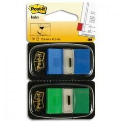 POST-IT Blister de 2 cartes de 50 marque-pages standards 2,54 x 4,4 cm bleu et vert