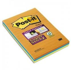 POS-IT Lot de 3 blocs Notes Super Sticky 101x152mm 45 feuilles lignées. Coloris orange, bleu, vert