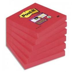 POST-IT Lot de 6 blocs Super Sticky 90 feuilles rouge coquelicot 76 x 76 mm