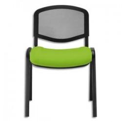 Chaise de conférence Iso Ergo Mesh dossier résille noir et assise tissu anis, 4 pieds tube époxy noir