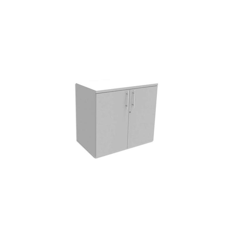 SIMMOB Armoire Basse 1 tablette avec porte INEO - Dimensions : L80 x H72 x P47 cm coloris Blanc perle