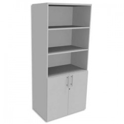 SIMMOB Bibliothèque Haute porte basse Blanc perle INEO - Dimensions : L80 x H180 x P47 cm
