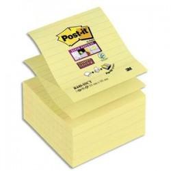 POST-IT Lot de 5 recharges Znotes Super Sticky jaune 90 feuilles lignées 101x101 mm