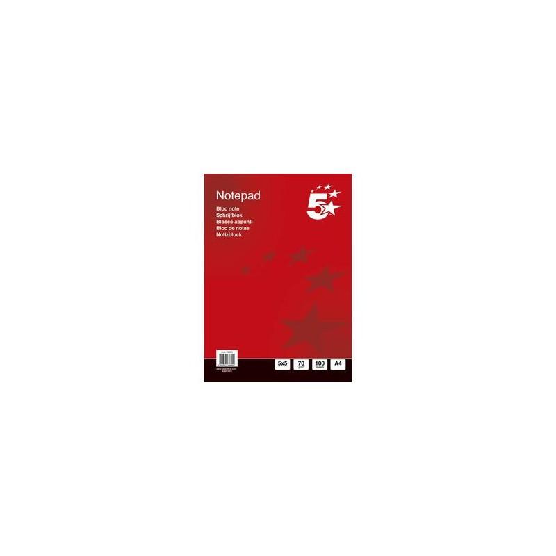 5 ETOILES Bloc de bureau 70g A4 200 pages 5x5. Feuilles détachables. En tête encollée. Couverture vernie