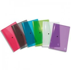 ELBA Chemise enveloppe HAWAI, en polypropylène 3/10ème, format A4, coloris translucides assortis