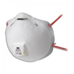 3M Boîte de 10 Masques coque 8833 classification FFP3 R D à élastique rouge, soupape respiratoire K8833
