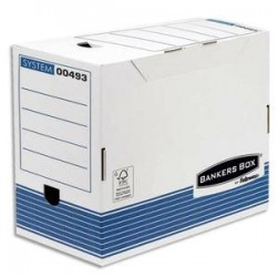 BANKERS BOX Boîte archives dos 20cm SYSTEM, montage automatique, carton recyclé blanc/bleu
