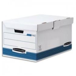 BANKERS BOX Conteneur SYSTEM ouverture sur le dessus, montage automatique, carton recyclé blanc/bleu