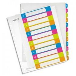 LEITZ Intercalaires numérique imprimables WOW 12 touches, format A4+, en polypro translucide assortis