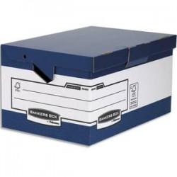 BANKERS BOX Conteneur Maxi HEAVY DUTY. Montage automatique. Carton blanc/bleu.