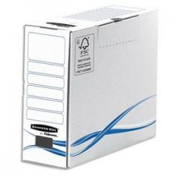 BANKERS BOX Boîte archives dos de 10cm BASIQUE, montage manuel, en carton blanc/bleu