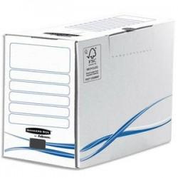 BANKERS BOX Boîte archives dos de 20cm BASIQUE, montage manuel, en carton blanc/bleu