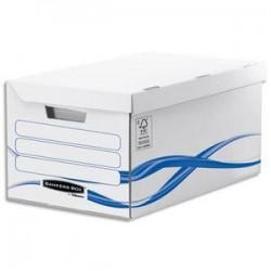 BANKERS BOX Conteneur BASIQUE à ouverture sur le dessus, montage manuel, en carton blanc/bleu