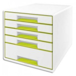LEITZ Bloc de classement 5 tiroirs, blanc laqué et tiroirs - WOW vert - L29 x H36 x P 37 cm