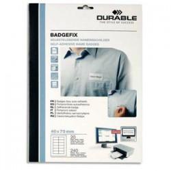 DURABLE Sachet de 20 Planches de Badges adhésifs en tissu imprimables, soit 240 badges L7,5 x P4 cm blanc