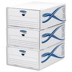BANKERS BOX Lot de 5 tiroirs de rangement BASIQUE superposables, pour format A4, carton blanc/bleu