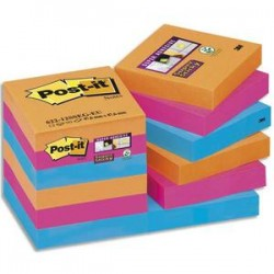 POST-IT Lot 12 blocs repositionnables STICKY Bangkok 47,6x47,6mm, orange néon/fuchsia/bleu méditerranée