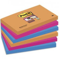 POST-IT Lot 6 blocs repositionnables STICKY Bangkok 76x127mm, orange néon/fuchsia/bleu méditerranée