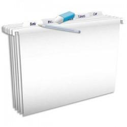 ELBA Paquet de 5 dossiers suspendus Pure File TIROIR en polypro opaque. Fond V. Blanc.