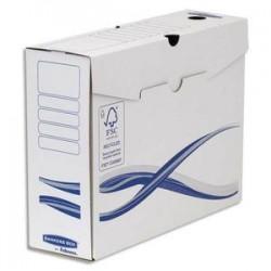 BANKERS BOX Lot 10 boîtes archives dos 10cm BASIQUE, montage manuel, carton recyclé. Sous film.