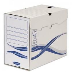 BANKERS BOX Lot 10 boîtes archives dos 15cm BASIQUE, montage manuel, carton recyclé. Sous film.