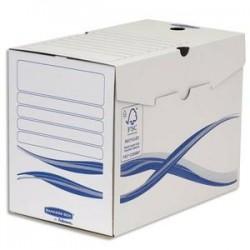 BANKERS BOX Lot 10 boîtes archives dos 20cm BASIQUE, montage manuel, carton recyclé. Sous film.