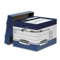 BANKERS BOX Caisse multi-usage ergonomique. Dim: 33,3 x 28,5 x 39cm, montage automatique. Carton recyclé