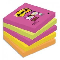 POST-IT Lot de 5 Blocs assortis SUPER STICKY 7,6 x 7,6 cm 90 feuilles couleurs néon 654S-N
