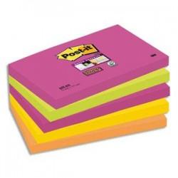 POST-IT Lot de 5 Blocs assortis SUPER STICKY 7,6 x 12,7 cm 90 feuilles couleurs néon 655S-N
