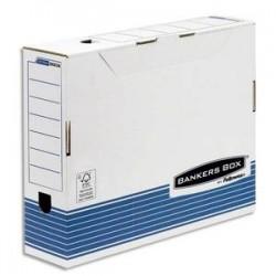 BANKERS BOX Boîte archives SYSTEM format A3, dos de 10cm, montage automatique, carton recyclé blanc/bleu