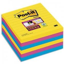 POST-IT Lot de 6 blocs 90 feuilles Super Sticky RIO lignées 101x101mm, jaune néon, fuchsia, méditerranée
