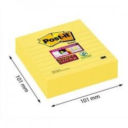 POST-IT Lot de 3 blocs de 70 feuilles Super Sticky jaunes lignées 101 x 101 mm