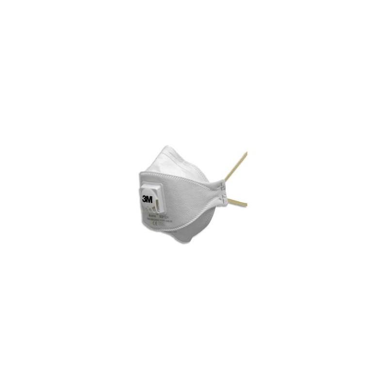 3M Boîte de 10 Masques coque 9312 antipoussières FFP1 NR D à élastique jaune, soupape respiratoire K9312